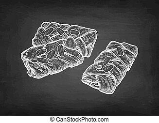 Maple pecan plait. Danish pastry. Chalk sketch on blackboard...