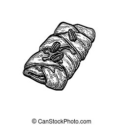 Maple pecan plait. Danish pastry. Ink sketch isolated on ...