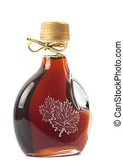 Maple Syrup Bottle isolated on a white background. Image is...