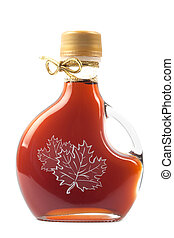 Maple Syrup Bottle isolated on a white background. Image is ...