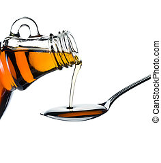 maple syrup pouring on spoon on white background