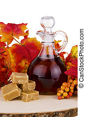 Maple syrup - Presentation of maple syrup and sugar cream on...