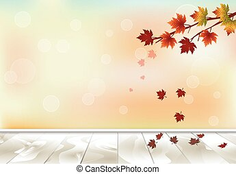 Maple tree and leaves floating wooden texture background, autumn season background