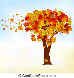 Maple tree, autumn leaf fall. EPS 8