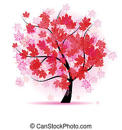 Maple tree, autumn leaf fall