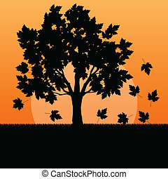 Maple tree autumn leaves background vector landscape concept