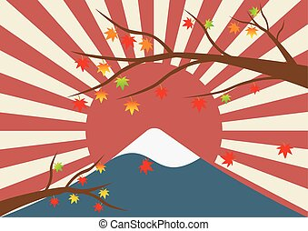 Maple tree in winter landscape of mountain with a snow like Mt-Fuji and sun rays of japan flag in background vintage pastel color style. Vector illustration design.