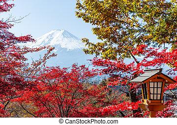 Maple tree, japanese temple and mountain Fuji