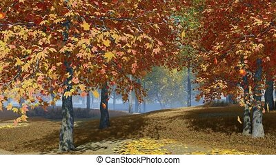 Autumn leaves falling from colorful maple trees in slow motion at scenic deserted autumnal park or forest. With no people fall season realistic 3D animation rendered in 4K