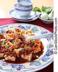 mapo, tofu, -, een, populair, chinees, kruidig, schaaltje