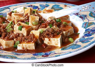 mapo, tofu, -, een, populair, chinees, kruidig, schaaltje,...