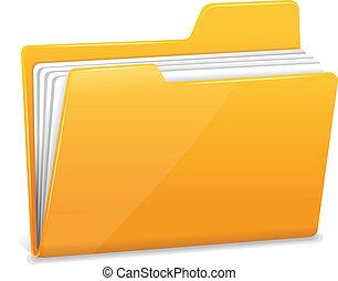 mapp, dokument, gul, fil