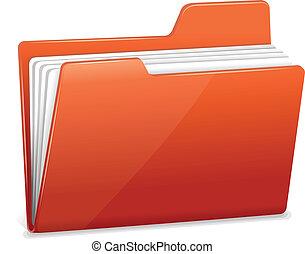 mapp, dokument, röd, fil