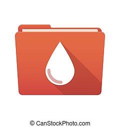 mapp, droppe, blod, ikon