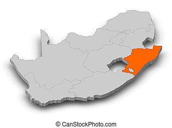 mappa, -, 3d-illustration, africa, kwazulu-natalizio, sud