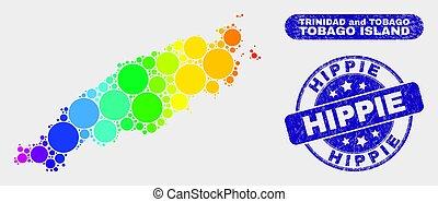 mappa, afflizione, colorato, francobollo, isola, tobago, mosaico, hippie