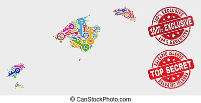 mappa, afflizione, esclusivo, francobollo, 100%, protezione, isole, baleare, composizione