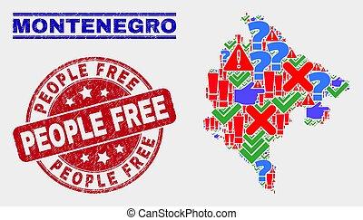 mappa, afflizione, persone, francobollo, simbolo,...
