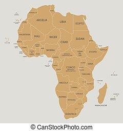 mappa, africa, politico, illustrazione, identificato, vettore, nomi, spanish., paese, editable, layers., chiaramente