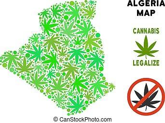 mappa, algeria, collage, foglie, marijuana, libero, regalità