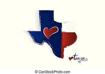 mappa, amare cuore, vettore, logotipo, texas