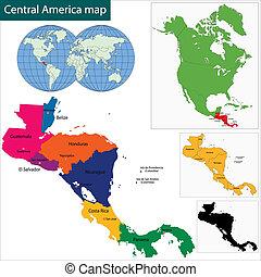 mappa, america, centrale