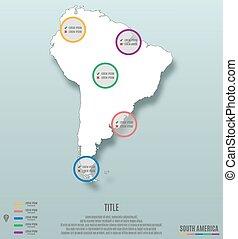 mappa, america, continente, sud, infographics