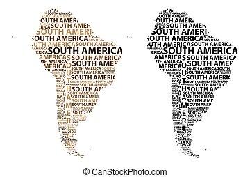 mappa, america, continente, sud