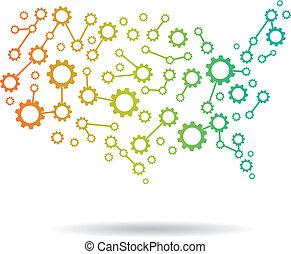 mappa, america, ingranaggio, logotipo