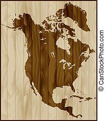mappa, america, legno, nord, fondo