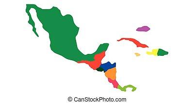 mappa, america, politico, centrale