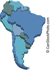 mappa, america, sud, 3d