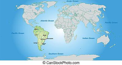 mappa, america, sud, mondo