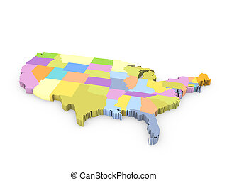 mappa, americano, 3d