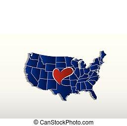 mappa, amore, stati uniti, cuore, immagine, vettore, logotipo, icona