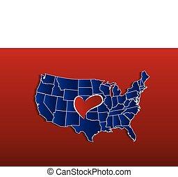 mappa, amore, stati uniti, cuore, vettore, logotipo, icona