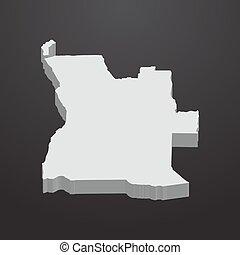 mappa, angola, grigio, sfondo nero, 3d