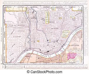 mappa antica, cincinnati, stati uniti, colore città, strada, ohio