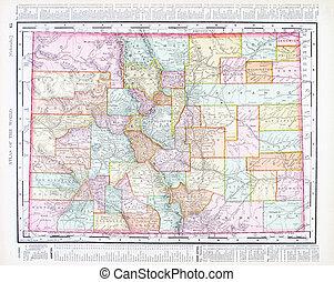 mappa antica, colorado, unito, stati uniti, colorare, stati