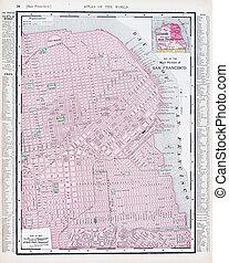 mappa antica, francisco, san, stati uniti, strada, california