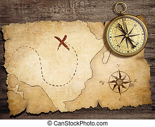 mappa antica, vecchio, tesoro, nautico, bussola, tavola, ottone, invecchiato