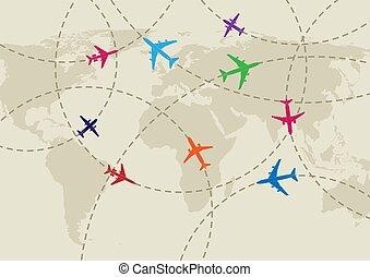 mappa, appartamento, aria, fondo, traffico, mondo, disegno