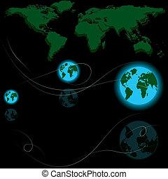 mappa, astratto, vettore, terra, globi, mondo