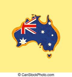 mappa, australia, colorato, -, bandiera, australiano