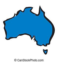 mappa, australia, contorno