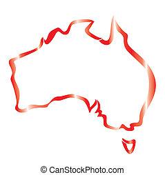 mappa, australia, contorno, rosso