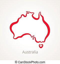mappa, australia, -, contorno