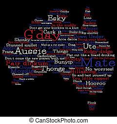mappa, australia, format., vettore, parole, australiano, fatto, slang