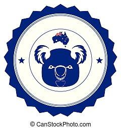 mappa, australia, silhouette, koala, etichetta