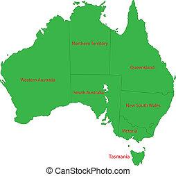 mappa, australia, verde